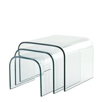 Glas-Beistelltische Reggiori Set von 3