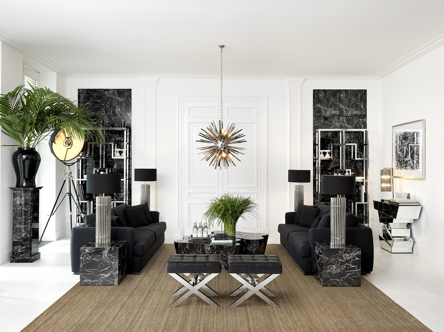 sitting room in black and white