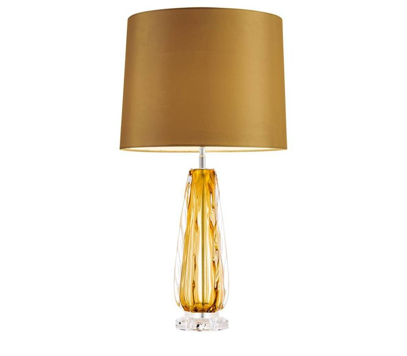 Table lamp 'Flato' stainless steel with a shade in gold