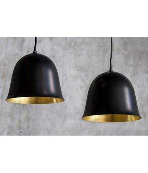 NORR11 Design hanglamp 'Cloche One' in de kleur zwart met goudkleurige binnenkant.