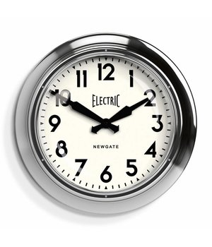"Newgate Wanduhr ""The Large Electric"" in Chrom-Ausführung."