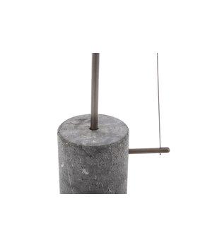 """NORR11 Design-Stehlampe """"Line One"""" in der Farbe Schwarz mit unbearbeitetem Marmorfuß."""