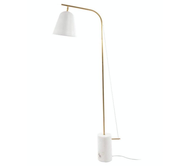 """Design-Stehlampe """"Line One"""" in weiß mit Fuß aus poliertem Marmor."""