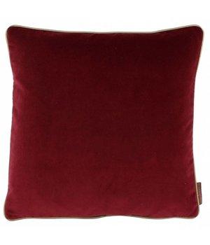 De Kussenfabriek Zierkissen Saffi Dark Red mit goldener Zierpaspel