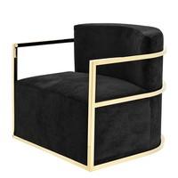 Chair 'Emilio' Black Velvet with Gold Finish