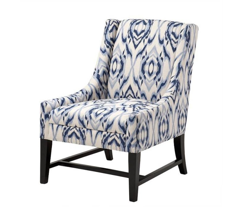 Sessel 'Harrison' Blue & Off-White Fabric