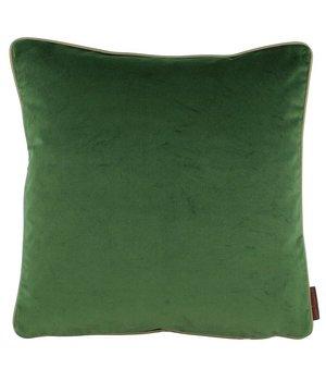 De Kussenfabriek Cushion Saffi Dark Green with Gold piping