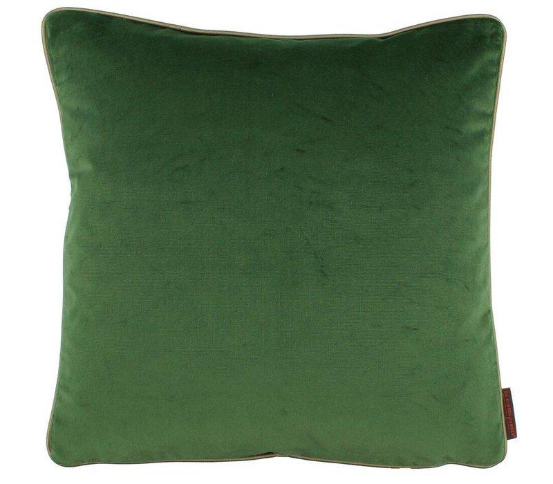 Zierkissen Saffi dark green mit goldener Zierpaspel