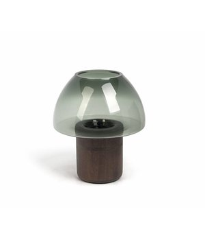 Dome Deco Hurricane 'Green' with wooden base - M