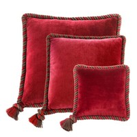 Kussen 'Christallo' Red Velvet Set of 3