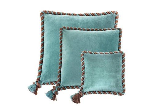 Eichholtz Kussen 'Christallo' Aqua Blue Velvet Set of 3