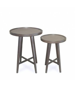Dome Deco Wooden side tables 'Tura' set of 2 with leather table top