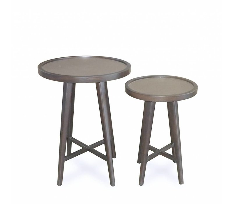 Wooden side tables 'Tura' set of 2 with leather table top