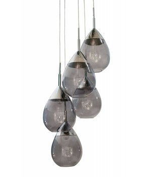 Dome Deco Hanging Lamp 'Pendle Glass' Smoke Grey