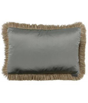 Claudi Throw pillow Dafne Fringe color Grey Mint