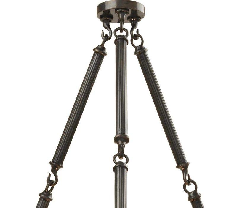 Chandelier Infinity Double met een zwarte 'gunmetal finish' heeft een diameter van 67cm