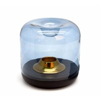 Tealight 'wood' with blue colored glass