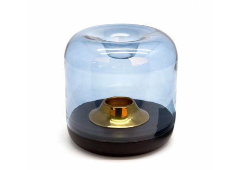 Dome Deco Tealight 'wood' with blue colored glass