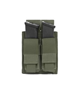 Warrior Assault Systeem MOLLE Double 9mm Direct Action Pistol Mag Pouch (OD)