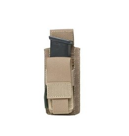 Warrior Assault Systeem MOLLE Single 9mm Direct Action Pistol Mag Pouch (Coyote)