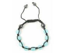 Shamballa armband lichtblauw/antraciet