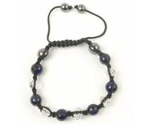 Shamballa armband donkerblauw/antraciet