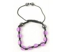 Shamballa armband roze/antraciet