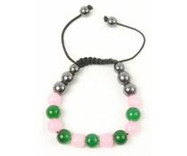 Shamballa armband lichtroze/groen/antraciet