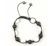 Shamballa armband zwart/wit/antraciet