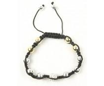Shamballa armband zilver-goudkleurig