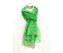 Groene sjaal met doodskoppen