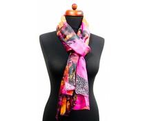Zijde zachte sjaal roze met grafische print