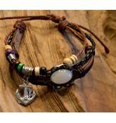 Leren armband met witte steen