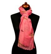 Sjaal roze met kruizen