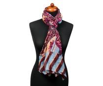 Trendy fantasieprint pareo sjaal rood/roze
