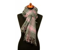 Geruite sjaal met franjes grijs