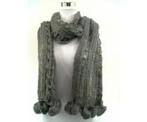 Open gebreide sjaal grijs met pompons