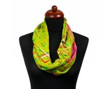 Col sjaal met zomerse print groen