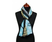 Panterprint sjaal LOVE PEACE blauw