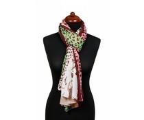 Panterprint sjaal LOVE PEACE bruin