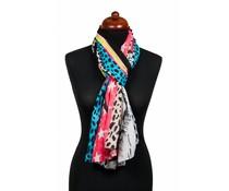 Panterprint sjaal LOVE PEACE rood