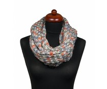 Gebreide kol sjaal grijs/wit