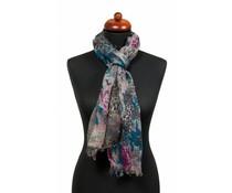 Sjaal met fantasieprint blauw
