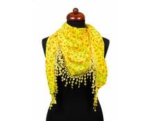 Driehoek sjaal neon geel met sterren