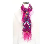 Vierkante sjaal roze met gekleurd ruitmotief