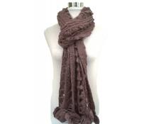 Open gebreide sjaal paars met pompons