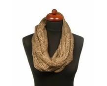 Col sjaal beige/bruin met pailletten