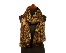 Sjaal panterprint bruin