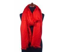 Sjaal rood/oranje met franjes