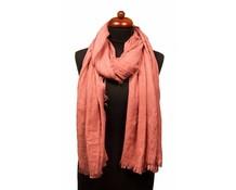 Sjaal oud roze met fijne franjes